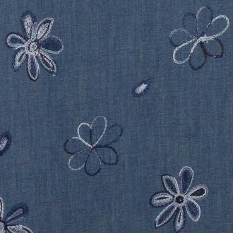 Tissu chambray brodé fleuri hippy - Bleu & bleu ciel - Largeur 128cm - Vendu par 50cm