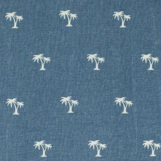 Tissu jean stretch palmier - Bleu ciel - PAR 50CM