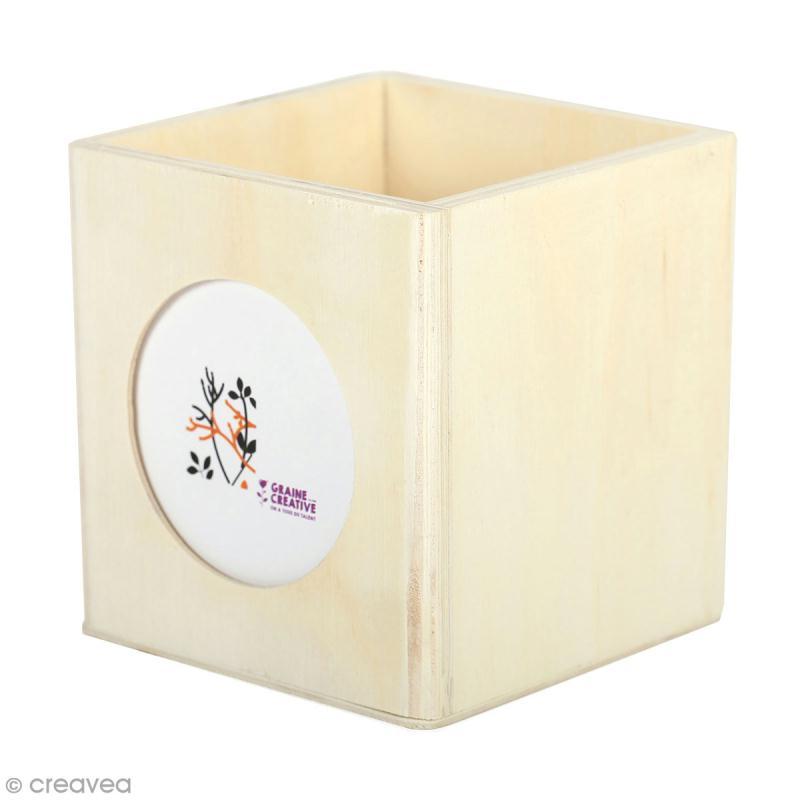 Pot à crayon carré en bois avec cadre photo - 10 x 10 cm - Photo n°1