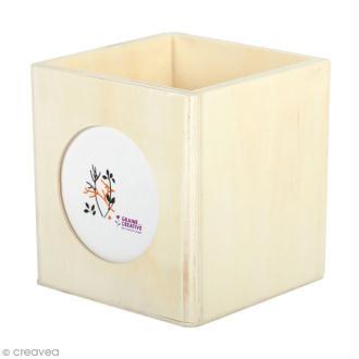 Pot à crayon carré en bois avec cadre photo - 10 x 10 cm