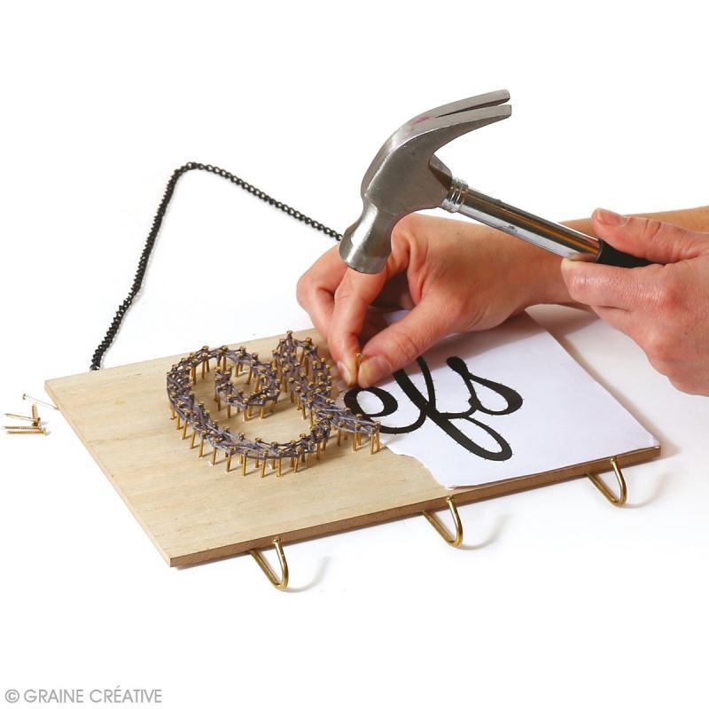 Support accroche-clés en bois à décorer - 3 crochets - 25 x 16 cm - Photo n°2