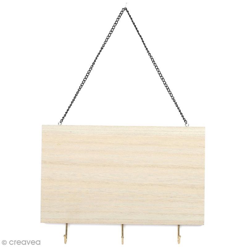Support accroche-clés en bois à décorer - 3 crochets - 25 x 16 cm - Photo n°1