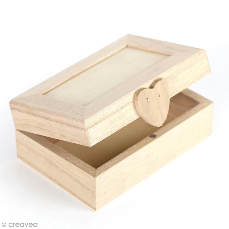 Boîte en bois à décorer - couvercle avec fermeture coeur aimantée - 11,5 x 8 x 5 cm - Photo n°1