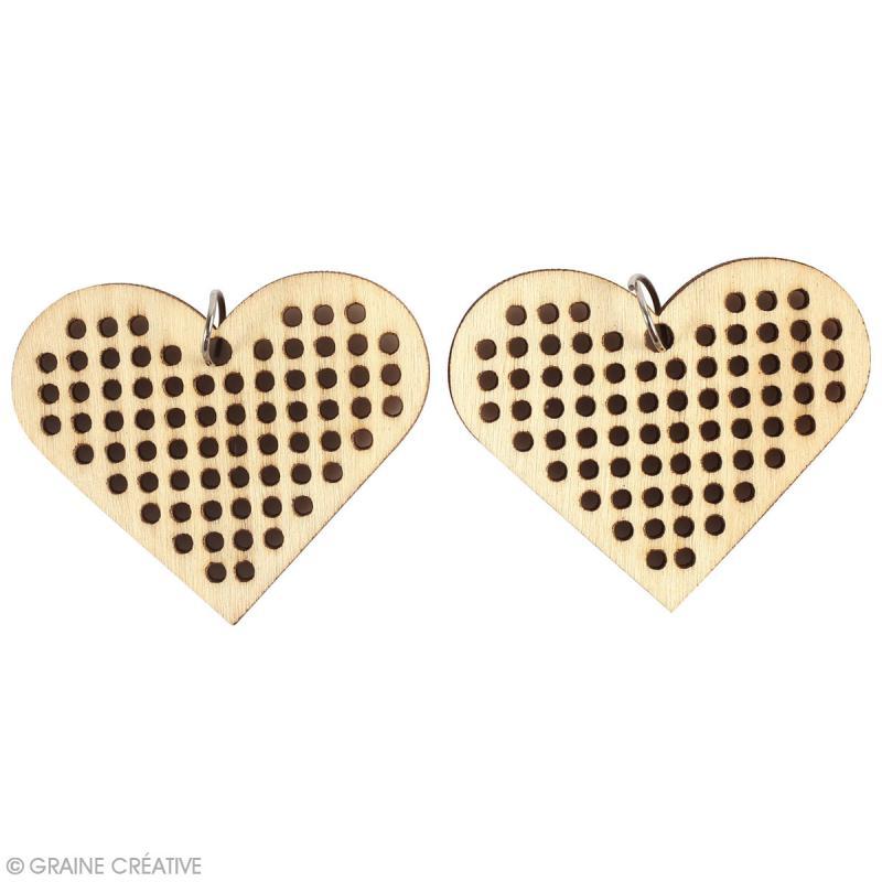 Bijoux en bois à broder - Coeur - 4 x 5 cm - 2 pcs - Photo n°2