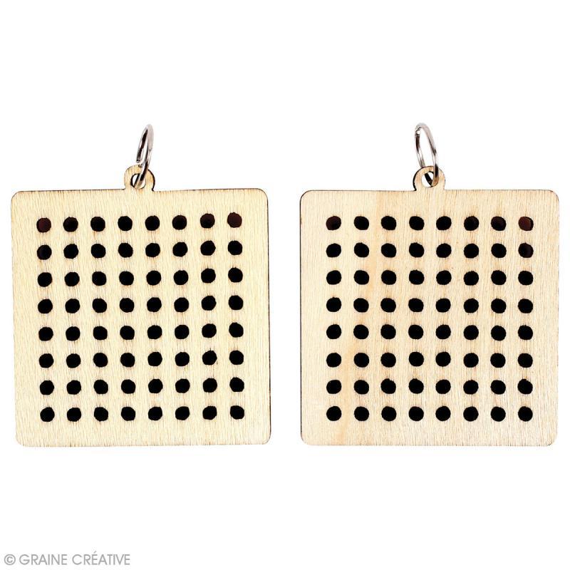 Bijoux en bois à broder - Carré - 4 x 4 cm - 2 pcs - Photo n°2