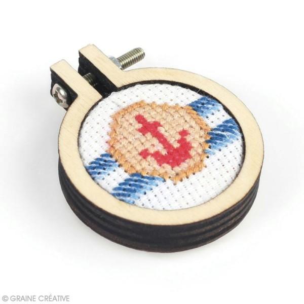 Mini tambour à broder en bois pour bijoux - 4,8 x 4 cm - 1 pce - Photo n°2