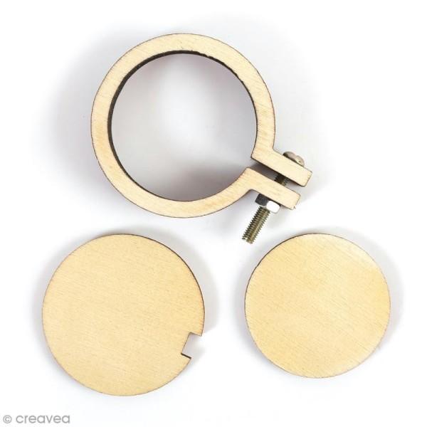 Mini tambour à broder en bois pour bijoux - 4,8 x 4 cm - 1 pce - Photo n°1
