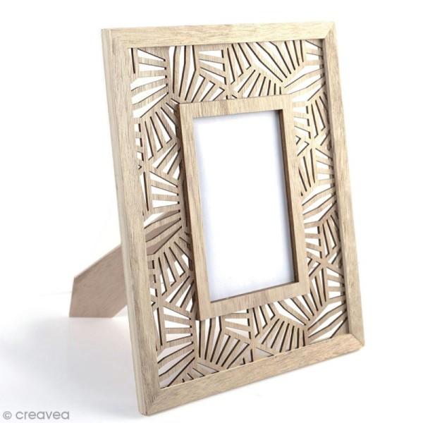 Cadre photo en bois à décorer - Géométrique végétal - 24 x 29 cm - Photo n°1