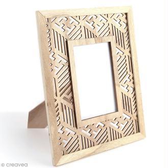 Cadre photo en bois à décorer - Géométrique ethnique - 24 x 29 cm