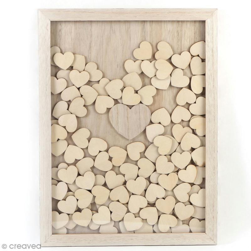Cadre à message en bois à décorer - coeur - 30 x 42 cm - Photo n°2