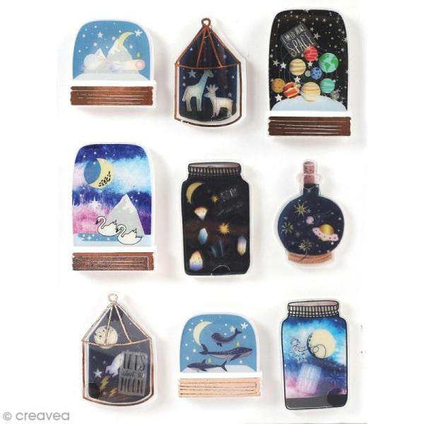 Stickers 3D Galaxie - 9 autocollants - Photo n°1
