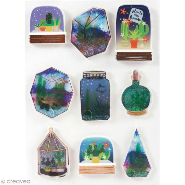 Stickers 3D pailletés Cactus et succulents - 9 autocollants - Photo n°1