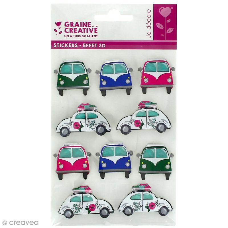 Stickers 3D Coccinelle - 10 autocollants - Photo n°1