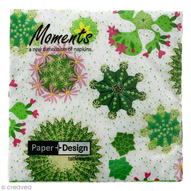 Serviette en papier - Cactus fleuris - 16 pcs - Photo n°1
