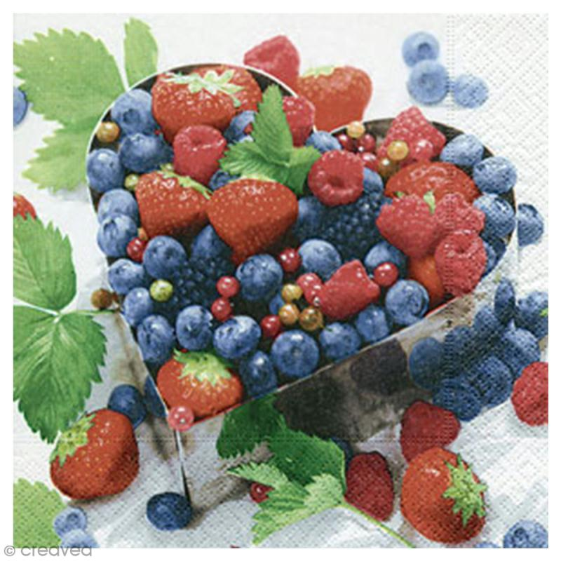 Serviette en papier - Fruits rouges - 20 pcs - Photo n°1