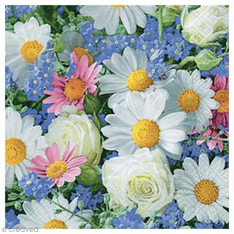 Serviette en papier à l'unité - Fleurs de printemps