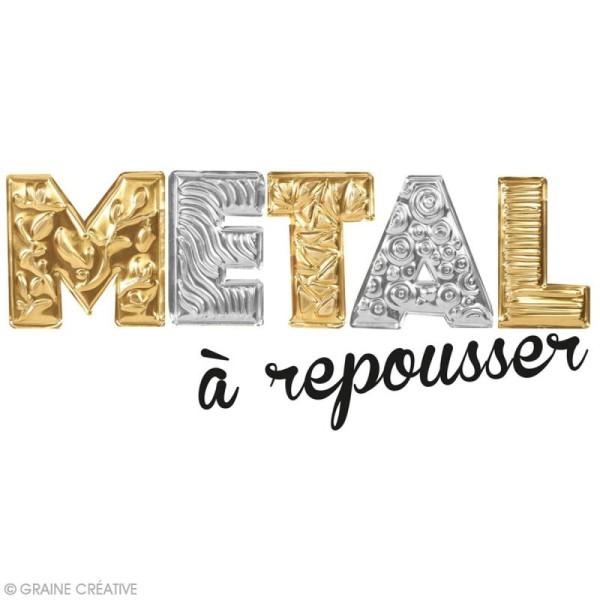 Papier métal à repousser - 18,5 x 29 cm - Doré et argenté - 3 pcs - Photo n°2