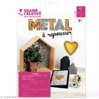 Papier métal à repousser - 18,5 x 29 cm - Doré et argenté - 3 pcs
