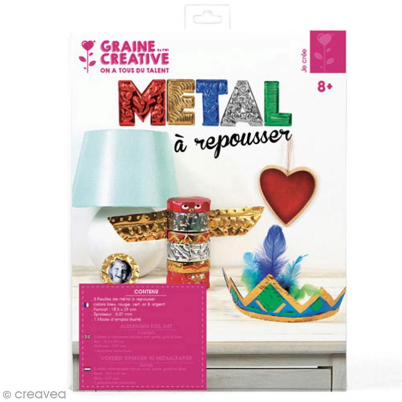 Papier métal à repousser - 18,5 x 29 cm - Doré, argenté, bleu, rouge, vert - 5 pcs - Photo n°1