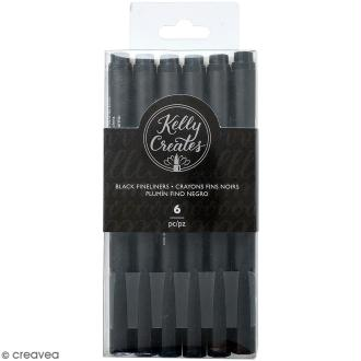 Stylo feutre à pointe fine Fineliners Kelly Creates - Noir - 6 pcs