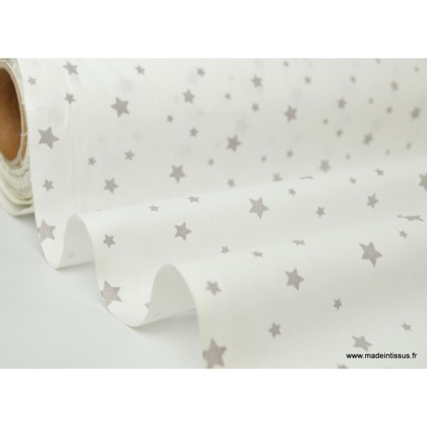 Tissu Coton oeko tex imprimé étoiles gris fond blanc - Photo n°2