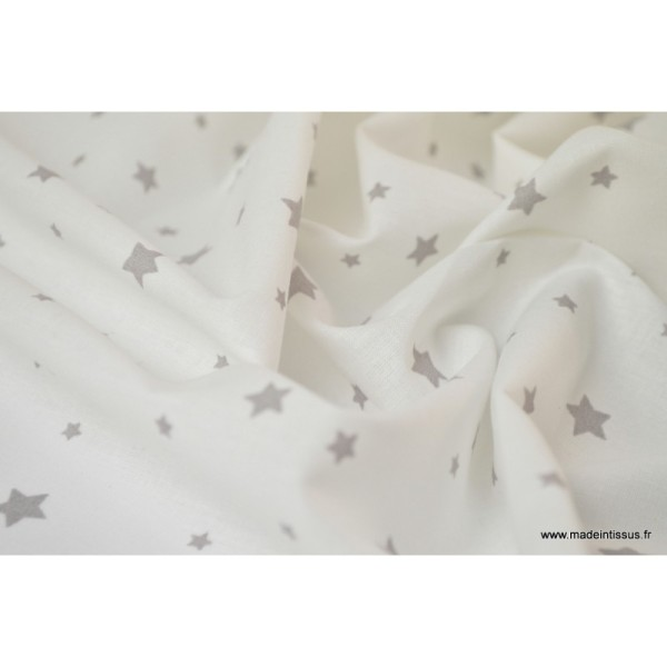 Tissu Coton oeko tex imprimé étoiles gris fond blanc - Photo n°4