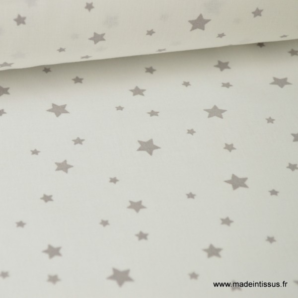 Tissu Coton oeko tex imprimé étoiles gris fond blanc - Photo n°1