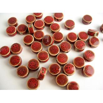 30 Perles Porcelaine Rouge Foncé Pastille 9X5Mm