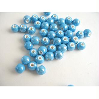 10 Perles Céramique Ronde Bleu 6Mm