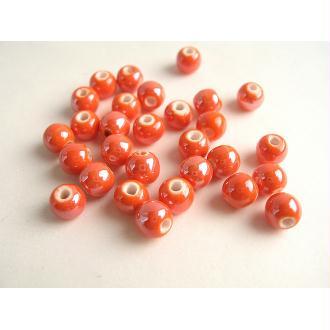 10 Perles Céramique Ronde Corail Orangé 6Mm