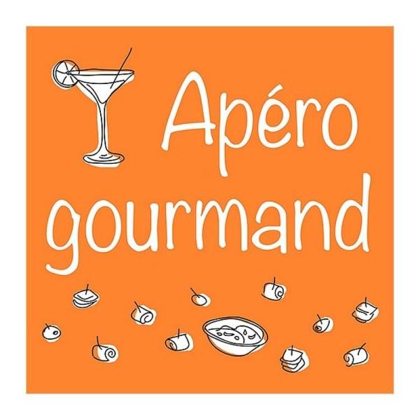 Lot de 20 serviettes en papier motif Apéro Gourmand sur fond Orange, 33 x 33 cm, déco printannière - Photo n°1