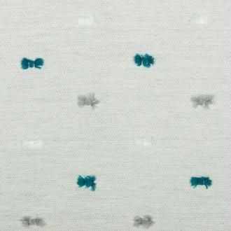 Tissu jacquard pompons - Gris & bleu - PAR 50CM