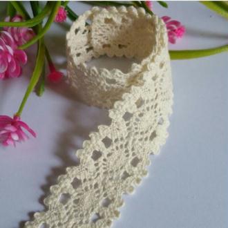 2 mètres de dentelle ruban coton vintage 3 cm IVOIRE 100AB
