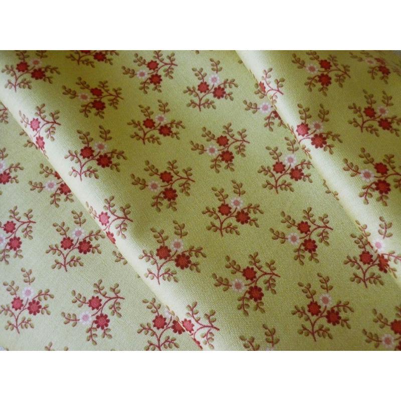 tissu coton fleuri style vintage vert olive clair 25 x 110 cm tissu fleuri creavea. Black Bedroom Furniture Sets. Home Design Ideas