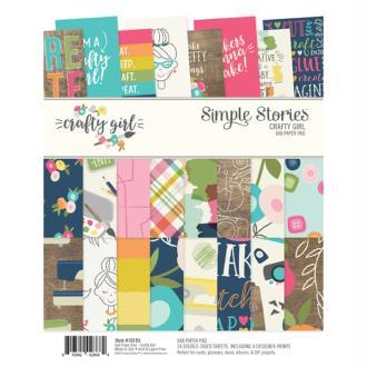 Bloc de papiers à motifs recto verso 20,3x15,3cm Crafty girl Simple Stories