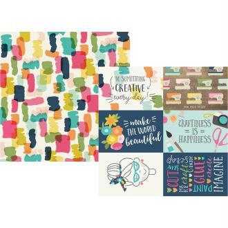 Papier à motifs recto verso 32x32cm Crafty girl 4x6 Horizontal Elements Simple Stories
