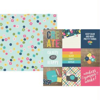 Papier à motifs recto verso 32x32cm Crafty girl 4x4 Elements Simple Stories