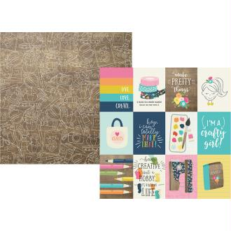 Papier à motifs recto verso 32x32cm Crafty girl 3x4 Elements Simple Stories