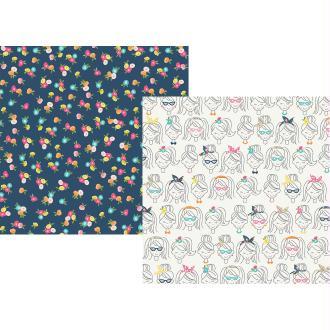 Papier à motifs recto verso 32x32cm Crafty girl Craft Night Simple Stories