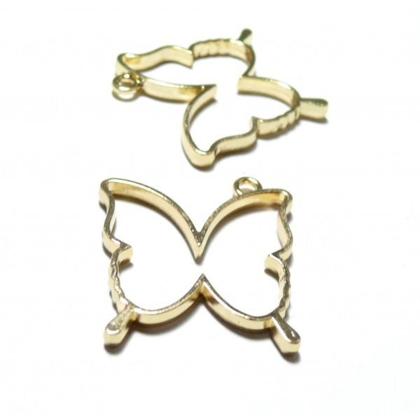 4 breloques pendentifs Papillon Doré pour création de Resine ou Fimo HS4734E - Photo n°1