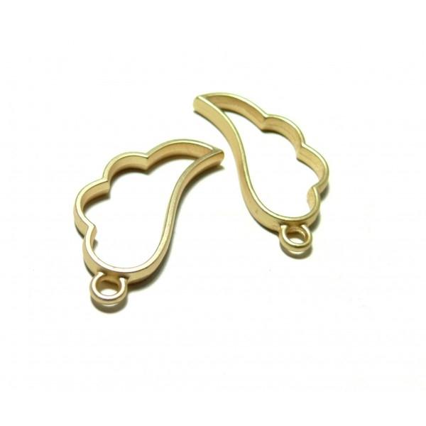 4 breloques pendentifs breloques AILE d' Ange OR mate 36mm pour Créations Résine Fimo H4727C - Photo n°1