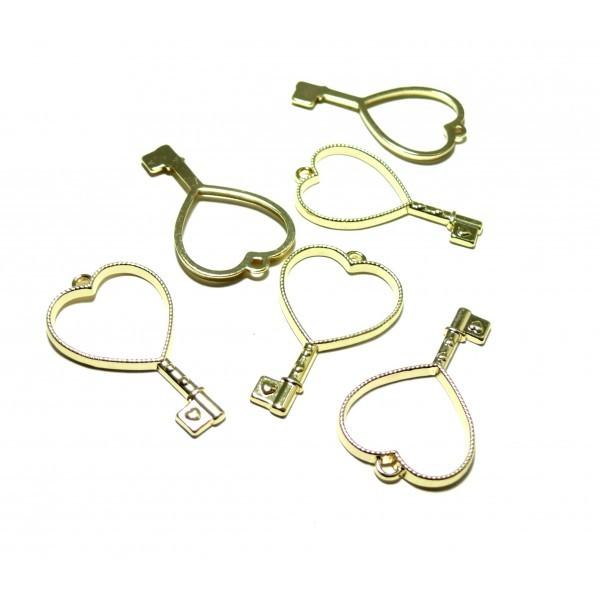4 breloques pendentifs CLEFS Coeur Doré pour création de Resine ou Fimo HT505G - Photo n°1