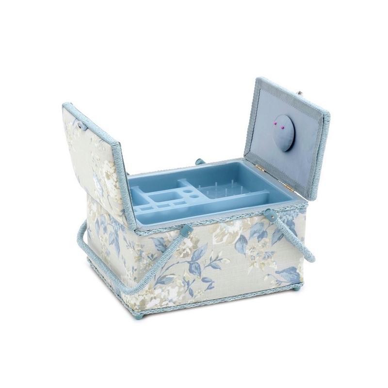 Bo te couture motifs fleurs coloris porcelaine grand for Acheter boite couture