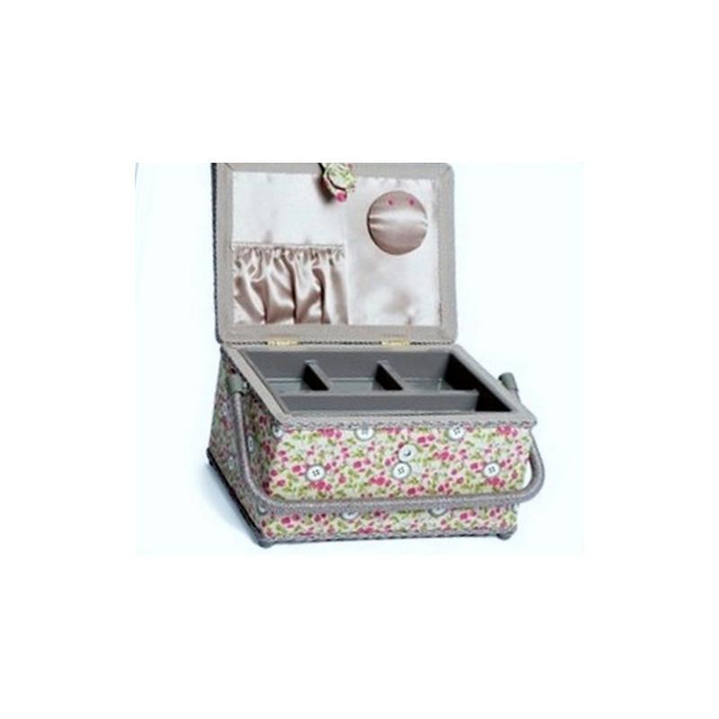 Bo te couture floral button boite rangement couture for Acheter boite couture