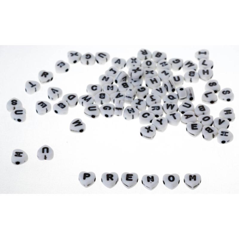 100 x 7 mm COEUR NOIR en Acrylique Plat Rond Perles