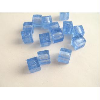 10 Perles en verre artisanal cube bleu argent 8mm