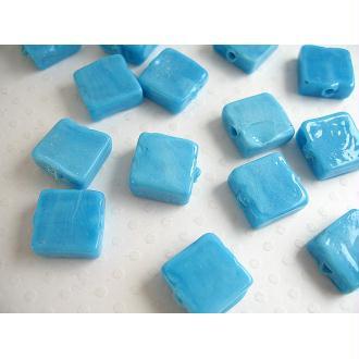 10 Perles verre artisanal bleu opaque 12x12mm