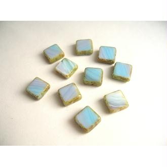 10 Perles carrées en verre bleu marbré 10mm