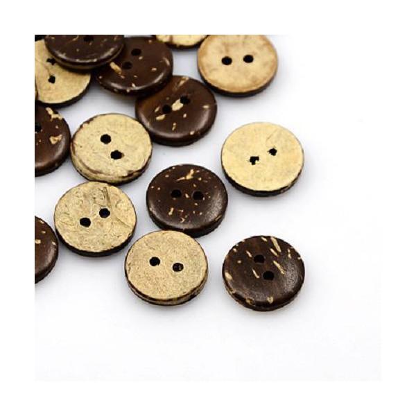 100pcs 2 trous marron NOIX DE COCO BOUTONS couture scrapbooking décoration 10 mm