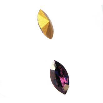 Lot 2 Navettes Cristal Swarovski  Facetté Vintage Amethyst - 18*9 mm